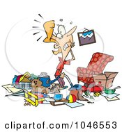 Royalty Free RF Clip Art Illustration Of A Cartoon Woman With A Messy Living Room by toonaday