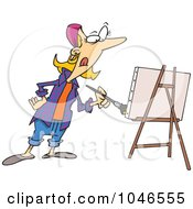 Royalty Free RF Clip Art Illustration Of A Cartoon Female Artist Painting by toonaday