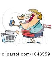 Cartoon Cooking Woman Seasoning With Salt