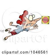 Royalty Free RF Clip Art Illustration Of A Cartoon Lady Pushing A Panic Button