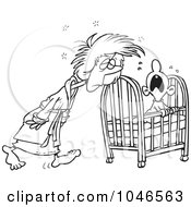 Cartoon Black And White Outline Design Of A Tired Mother Tending To Her Baby