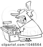 Cartoon Black And White Outline Design Of A Female Clerk