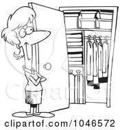 Royalty Free RF Clip Art Illustration Of A Cartoon Black And White Outline Design Of A Woman With A Clean Closet by toonaday