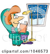 Royalty Free RF Clip Art Illustration Of A Cartoon Comfortable Woman Reading A Book by toonaday