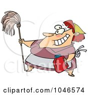 Royalty Free RF Clip Art Illustration Of A Cartoon Woman Cleaning by toonaday
