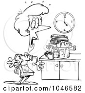 Royalty Free RF Clip Art Illustration Of A Cartoon Black And White Outline Design Of A Woman Panicking In A Messy Kitchen by Ron Leishman