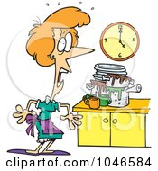 Royalty Free RF Clip Art Illustration Of A Cartoon Woman Panicking In A Messy Kitchen by Ron Leishman