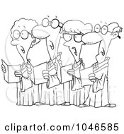 Royalty Free RF Clip Art Illustration Of A Cartoon Black And White Outline Design Of A Choir Of Seniors by toonaday
