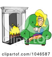 Cartoon Woman Drinking Coffee By A Fireplace