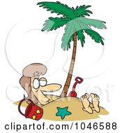Royalty Free RF Clip Art Illustration Of A Cartoon Woman Buried In Sand Under A Palm Tree