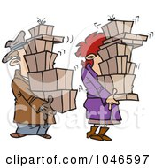 Royalty Free RF Clip Art Illustration Of A Cartoon Shaking Couple Carrying Packages by toonaday