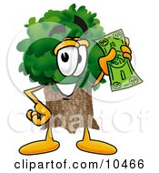 Tree Mascot Cartoon Character Holding A Dollar Bill