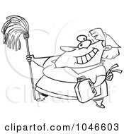 Cartoon Black And White Outline Design Of A Woman Cleaning