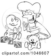 Cartoon Black And White Outline Design Of A Mom Playing Patty Cake With Her Baby