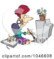 Royalty Free RF Clip Art Illustration Of A Cartoon Female Illustrator by toonaday