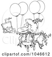 Royalty Free RF Clip Art Illustration Of A Cartoon Black And White Outline Design Of A Birthday Party Woman