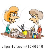 Royalty Free RF Clip Art Illustration Of Cartoon Women Doing Crafts by toonaday