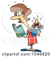 Royalty Free RF Clip Art Illustration Of A Cartoon New Mom Reading A Parenting Book