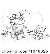 Royalty Free RF Clip Art Illustration Of A Cartoon Black And White Outline Design Of A Dog Chasing A Mail Woman by toonaday