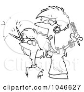 Royalty Free RF Clip Art Illustration Of A Cartoon Black And White Outline Design Of A Woman Cutting Hair At A Salon by toonaday