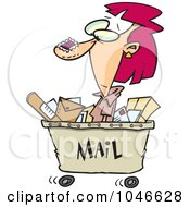 Royalty Free RF Clip Art Illustration Of A Cartoon Woman In A Mail Cart