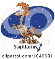 Cartoon Sagittarius Centaur Over A Blue Oval