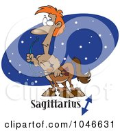 Royalty Free RF Clip Art Illustration Of A Cartoon Sagittarius Centaur Over A Blue Oval by toonaday