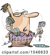 Royalty Free RF Clip Art Illustration Of A Cartoon Man Calling A Plumber
