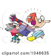 Royalty Free RF Clip Art Illustration Of A Cartoon Woman Power Shopping On Roller Blades by toonaday