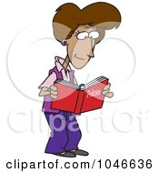Royalty Free RF Clip Art Illustration Of A Cartoon Woman Reading A Policy Book