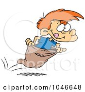 Royalty Free RF Clip Art Illustration Of A Cartoon Boy Hopping In A Sack Race by toonaday