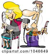Royalty Free RF Clip Art Illustration Of A Cartoon Man Working On A Female Client At A Salon