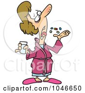 Royalty Free RF Clip Art Illustration Of A Cartoon Sick Woman Popping Pills by toonaday