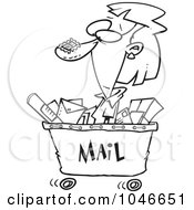 Royalty Free RF Clip Art Illustration Of A Cartoon Black And White Outline Design Of A Woman In A Mail Cart by toonaday