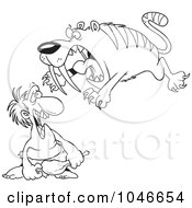 Royalty Free RF Clip Art Illustration Of A Cartoon Black And White Outline Design Of A Saber Tooth Tiger Attacking A Caveman by toonaday