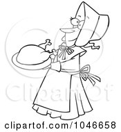 Royalty Free RF Clip Art Illustration Of A Cartoon Black And White Outline Design Of A Lady Pilgrim Serving A Turkey