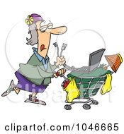 Royalty Free RF Clip Art Illustration Of A Cartoon Homeless Woman Pushing A Laptop On Her Cart by toonaday