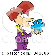 Poster, Art Print Of Cartoon Businesswoman Holding A Puzzle Piece
