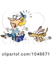 Royalty Free RF Clip Art Illustration Of A Cartoon Dog Chasing A Mail Woman by toonaday