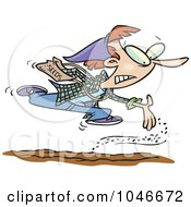 Royalty Free RF Clip Art Illustration Of A Cartoon Woman Power Seeding Her Garden by toonaday