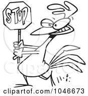 Royalty Free RF Clip Art Illustration Of A Cartoon Black And White Outline Design Of A Rooster Carrying A Stop Sign by Ron Leishman
