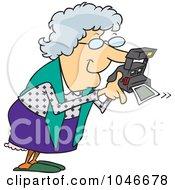 Royalty Free RF Clip Art Illustration Of A Cartoon Granny Using A Polaroid Camera by toonaday