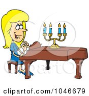 Royalty Free RF Clip Art Illustration Of A Cartoon Woman Playing A Piano