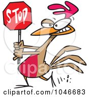 Royalty Free RF Clip Art Illustration Of A Cartoon Rooster Carrying A Stop Sign by toonaday