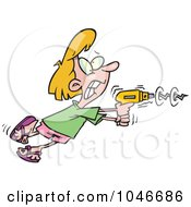 Royalty Free RF Clip Art Illustration Of A Cartoon Woman Using A Power Drill