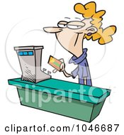 Royalty Free RF Clip Art Illustration Of A Cartoon Female Sales Clerk