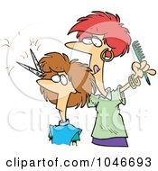 Royalty Free RF Clip Art Illustration Of A Cartoon Woman Cutting Hair At A Salon by toonaday