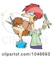 Royalty Free RF Clip Art Illustration Of A Cartoon Woman Cutting Hair At A Salon