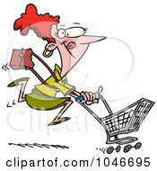 Royalty Free RF Clip Art Illustration Of A Cartoon Woman Power Shopping by toonaday