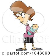 Royalty Free RF Clip Art Illustration Of A Cartoon Protective Mother